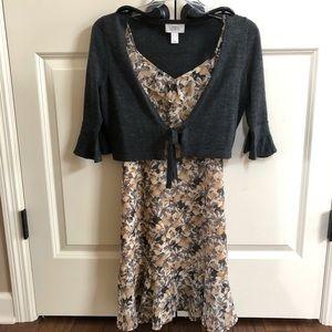 Loft knee length dress with cardigan 00p / XS
